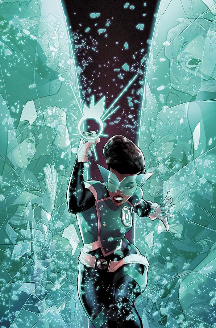 A female Green Lantern runs through shattering glass reflecting people