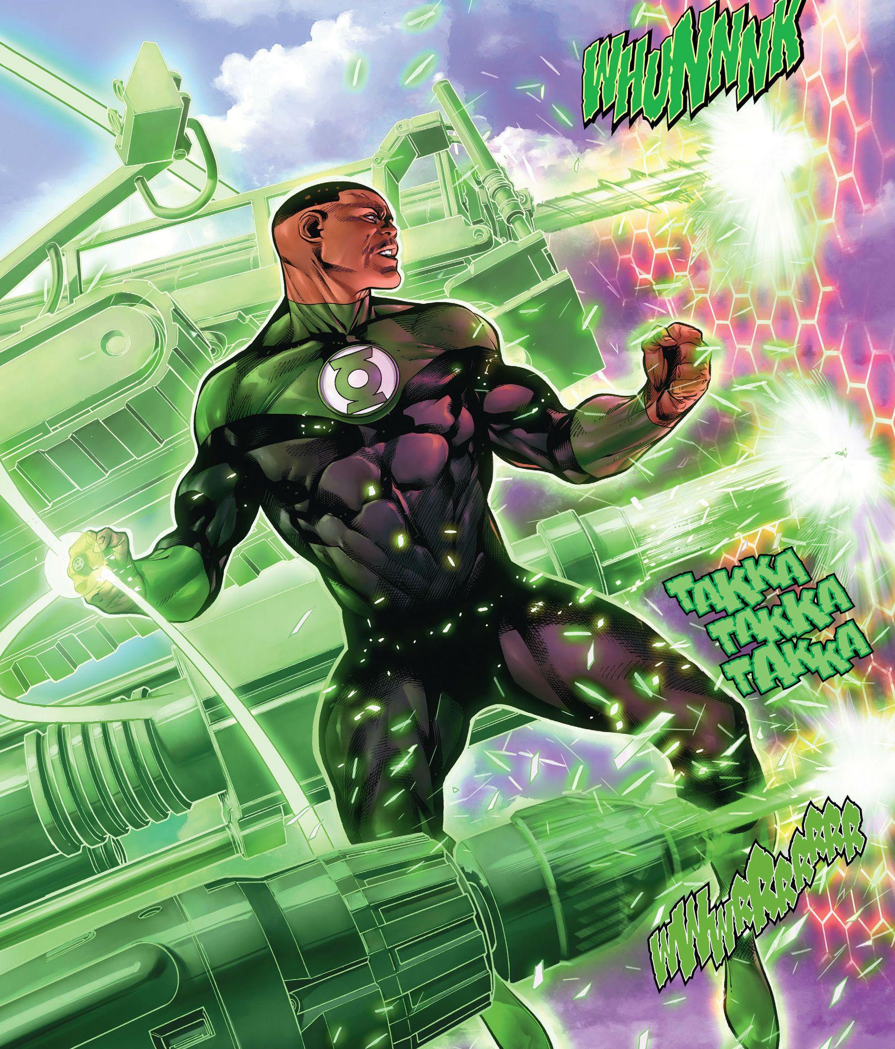 John Stewart's Green Lantern conjures some machine guns