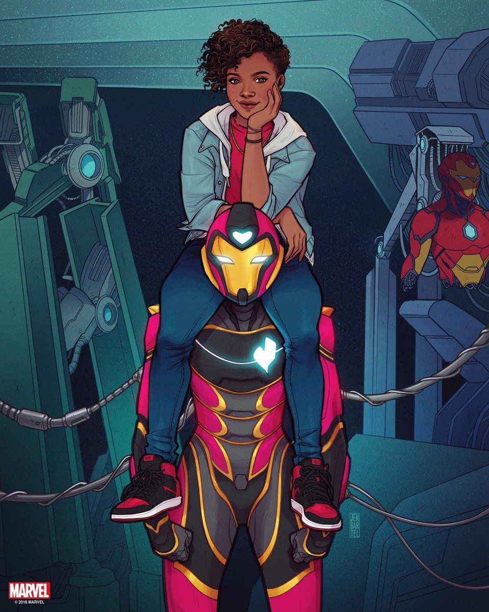 Riri sitting on the shoulders of her Ironheart suit