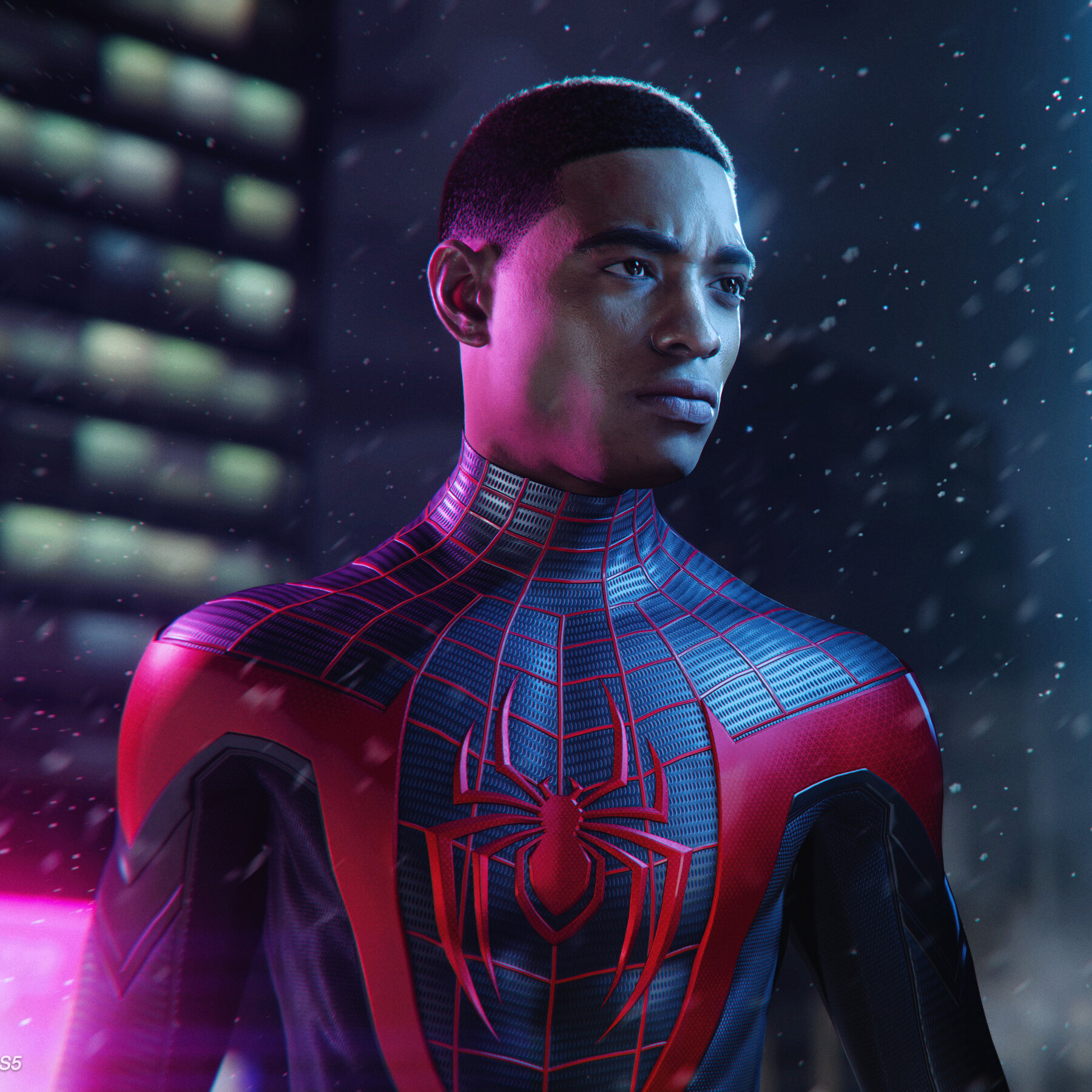 Miles Morales wears his Spider-Man costume without the mask