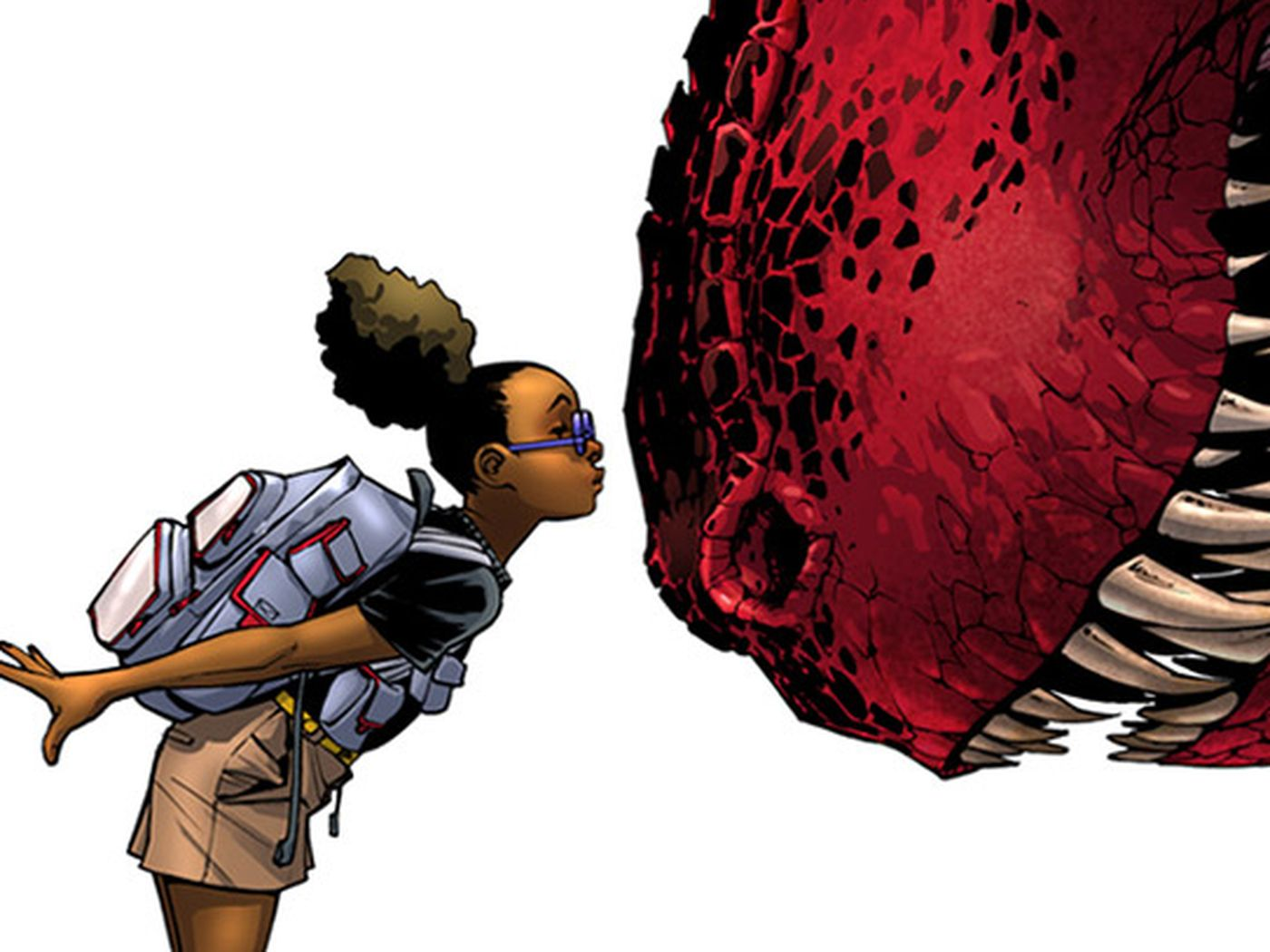 Little Lunella Lafayette goes in to kiss Devil Dinosaur's giant red nose