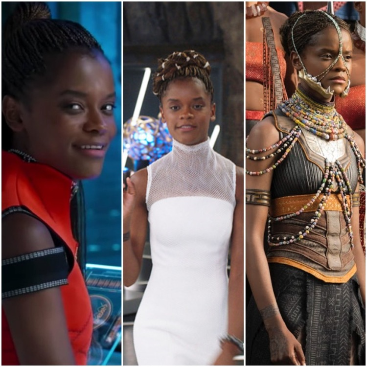 Three panels of Shuri: a close-up of her smile, her in a white dress, and her as a Wakandan warrior