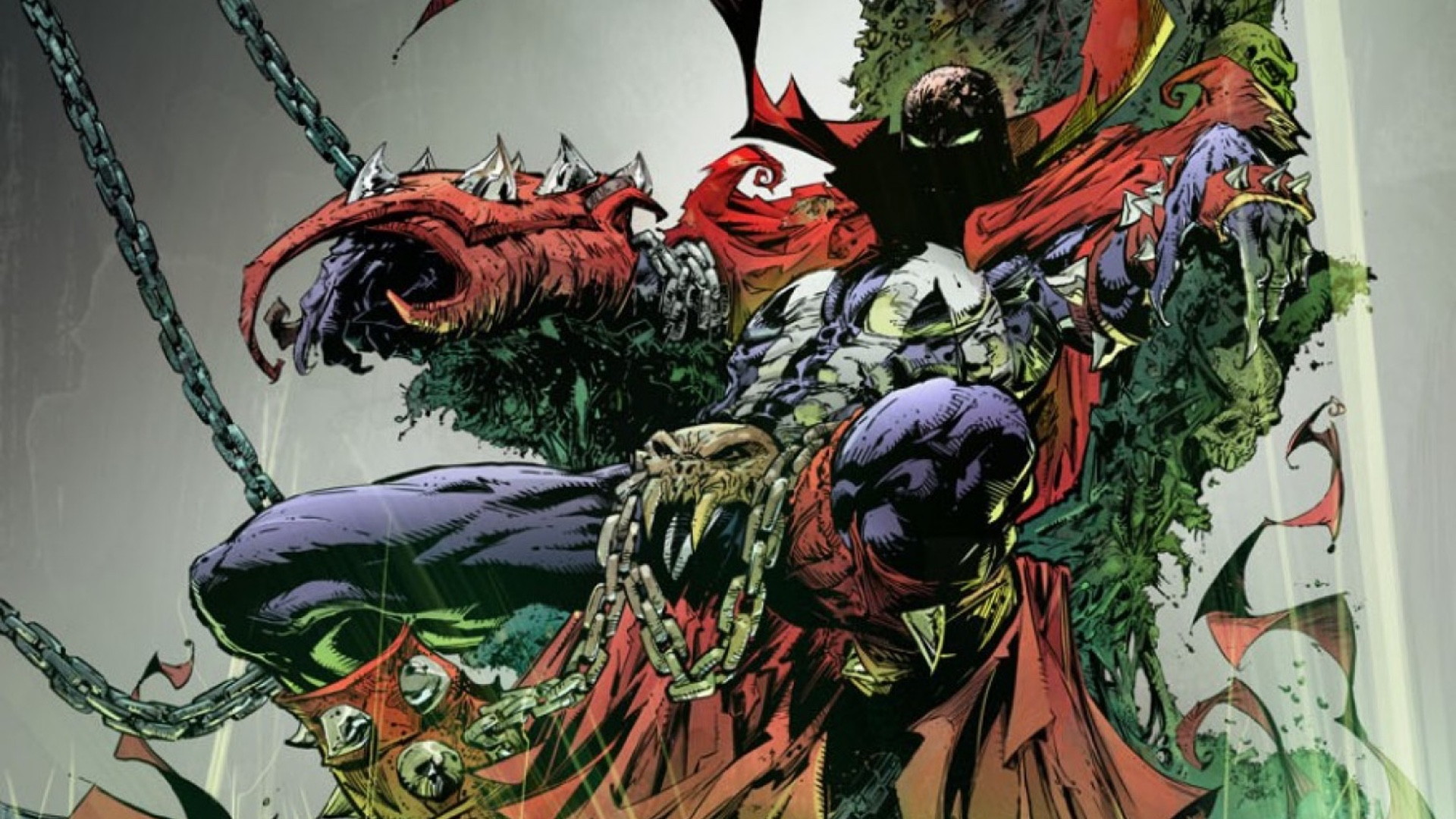 Spawn slouches on a grotesque throne