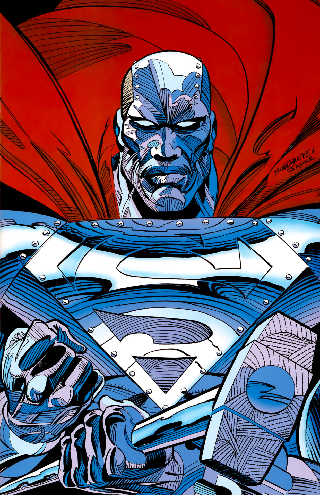 Metal Superman with a hammer and African American facial features