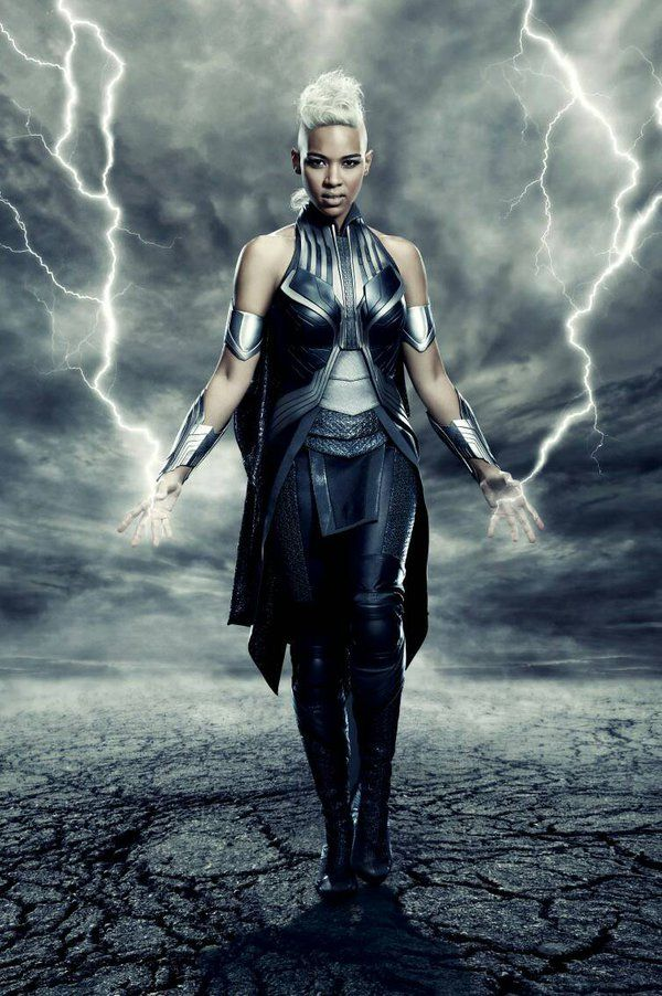 Storm stands with lightning crackling at her fingertips