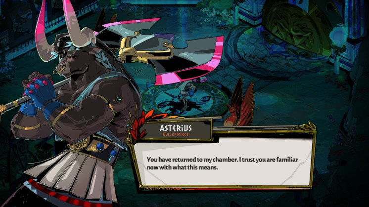 """Asterius is one of my favorite characters. Cool thing Supergiant did, by making Theseus arogant, and """"the Minotaur of Crete,"""" wise."""